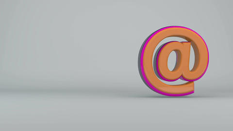 Colorful e-mail symbol rotate on white background. Seamless loop Animation