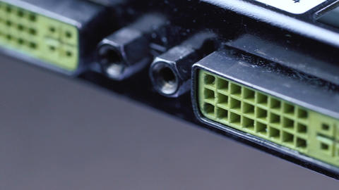 Graphics card back with DVI ports Footage