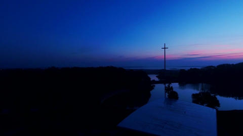 Sunrise Nativity Scene with the Great Cross in Saint Augustine Florida ビデオ