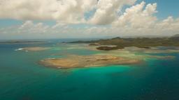 Aerial view tropical lagoon,sea, beach. Tropical island. Siargao, Philippines Footage