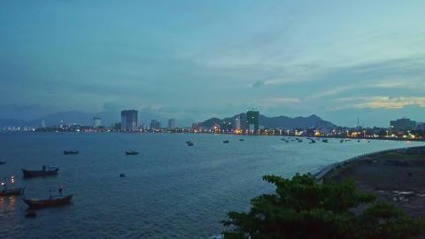 Fantastic Aerial View Quiet Lagoon against Evening Sky Footage