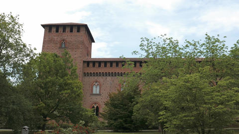 Panoramic view of Castello Visconteo castle grounds in Pavia, PV, Italy Footage