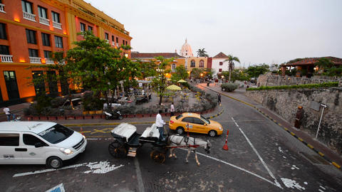 Historic Plaza in Cartagena, Colombia Live Action