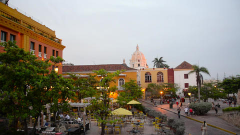Plaza in Cartagena, Colombia Live Action