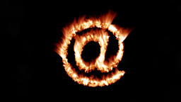 At sign symbol hot text brand branding iron metal flaming heat flames 4K Live Action