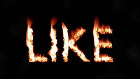 Like button thumbs up hot text brand branding iron metal flaming heat flames 4K Live Action