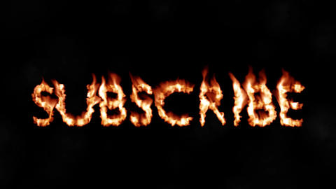 Subscribe hot text brand branding iron subscriber metal flaming heat flames 4K Live Action