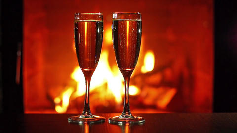Sparkling wine and fireplace Footage