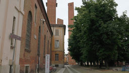 Medieval towers behind the University and some trees in Pavia, PV, Italy Footage