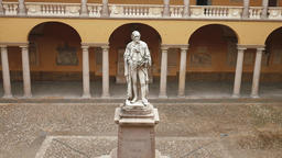 Alessandro Volta statue at University of Pavia, PV, Italy, zoom out Footage
