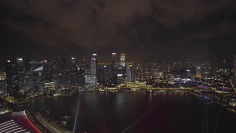 Singapore National Day dress rehearsal fireworks from Marina Bay Sands Hotel Filmmaterial