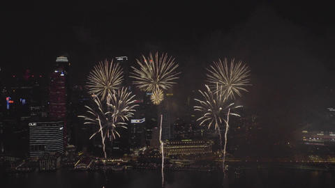 Singapore National Day dress rehearsal fireworks from Marina Bay Sands Hotel Footage