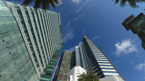 Low angle view of Banks and Commercial buildings in Central Business District Footage