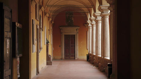 Rettorato (dean's office) door in a corridor of University of Pavia, PV, Italy Footage
