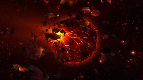 Red Orange Outer Space Lava Planet with Asteroids and Stars Environment Scene Ba Animation