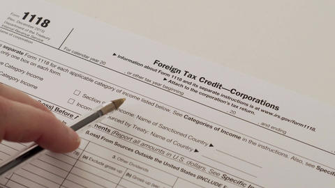IRS Form 1118 Corporate Foreign Tax Credit Footage
