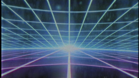 Retro 80s VHS tape video game intro landscape vector arcade wireframe 4k ビデオ