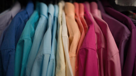 Men's shirts on hangers Footage