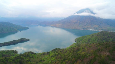 Aerial view of Lake Chuzenji Footage