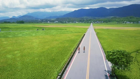 Chishang - June 2017: Fly over shot of Mr. Brown Avenue with rice fields and cyc Footage