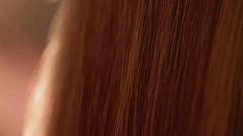 Close-up of brown hair brushing Footage