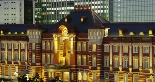 Elevated Night View of Tokyo Station Footage