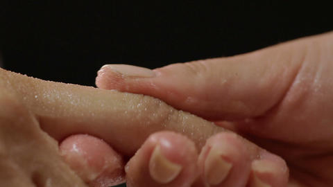 Beautiful hand receiving spa treatment with honey Footage