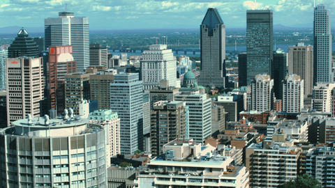 Wide panoramic shot of Montreal City Skyline and downtown skyscrapers Footage