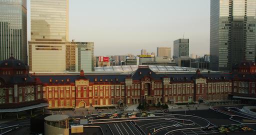 Setting Sun on Tokyo Station Marunouchi Side Footage