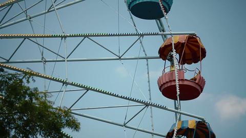 Ferris Wheel Over Blue Sky stock footage