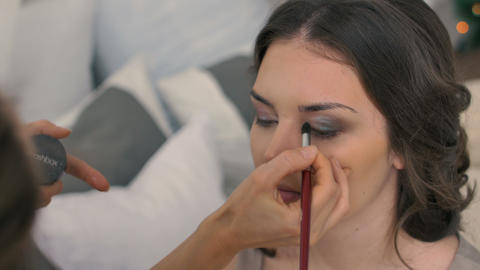 beautiful bride wedding make-up by make-up artist Footage