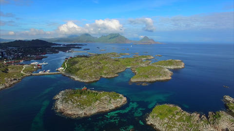 Flying above small islets near Ballstad on Lofoten islands Footage