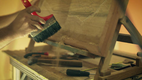 6 Sculptor Painter Artist Chiseling A Wooden Bas Relief Footage