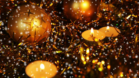 Christmas New Year candle Gold sparkling snow 1 Footage