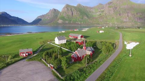 Village Flakstad on Lofoten islands in Norway Footage