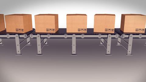 Shipping Boxes On A Conveyor Belt/ Shipping Merchandise Animation