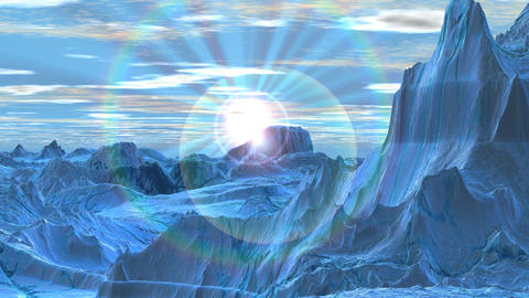 Sunrise in the snowy mountains Animation