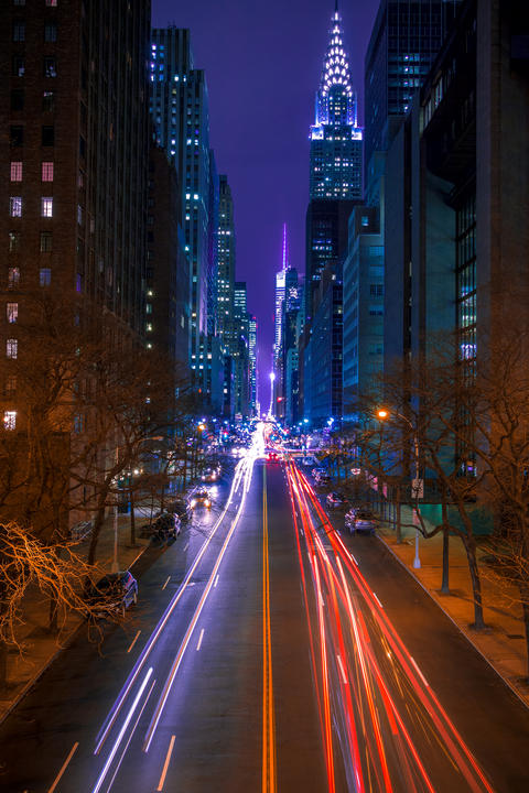 42nd Street in New York City at Night Photo