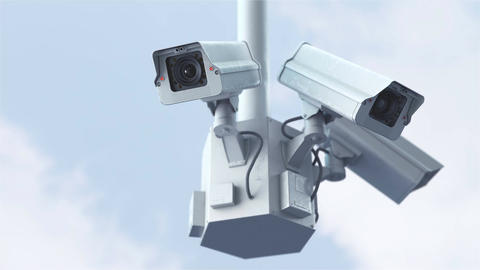 Security cameras against blue sky in 4K CG動画素材