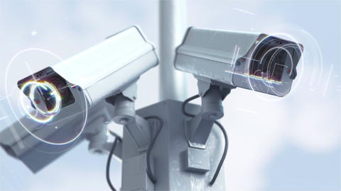 Futuristic security cameras in 4K Animación