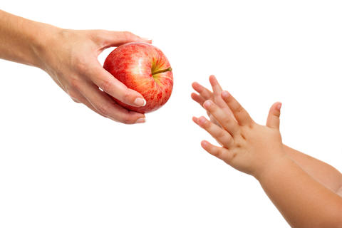 Babies hands reaching out to apple Foto
