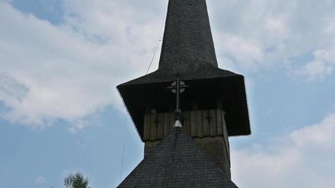 The wooden church of Botiza monastery in Romania Footage