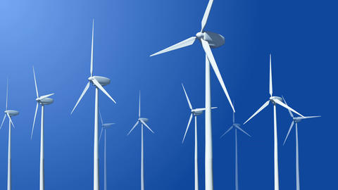 Animation of flying wiht wind turbines Filmmaterial