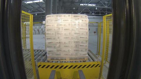View Through Fork Machine Taking Gypsum Bag Pile Footage