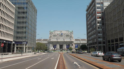 Milan, Italy – May 2016: Central Station front view from broad avenue Footage