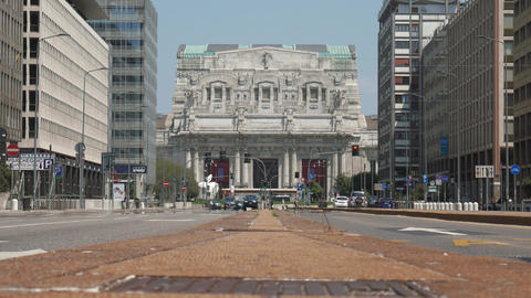 Milan central station front view from broad avenue, ground level Footage