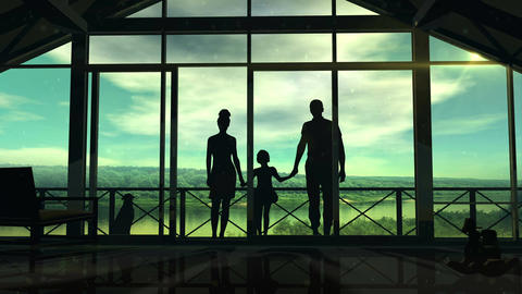 Silhouettes of a happy family on the veranda Animation