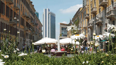 Milan, Italy - May 2016: people eating and shopping in Corso Como Footage