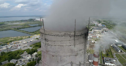 Pipes smoke on the city. Aerial Footage