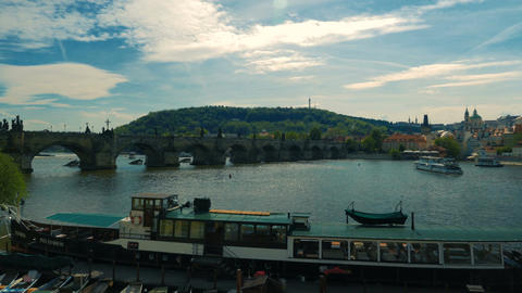 Charles Bridge and Prague Castle in Czech Republic, Czechia Footage